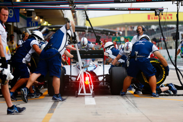 Interlagos, Sao Paulo, Brazil. Friday 13 November 2015. Valtteri Bottas, Williams FW37 Mercedes, makes a pit stop during practice. World Copyright: Glenn Dunbar/LAT Photographic ref: Digital Image _89P4423