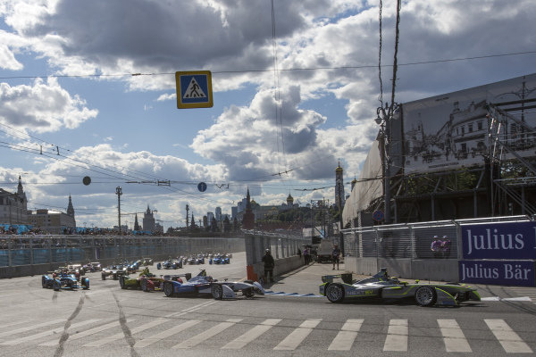 Nelson Piquet Jr (BRA) - NEXTEV TCR Formula E Team leads at the start of the race at Formula E Championship, Rd9, Moscow, Russia, 4-6 June 2015.