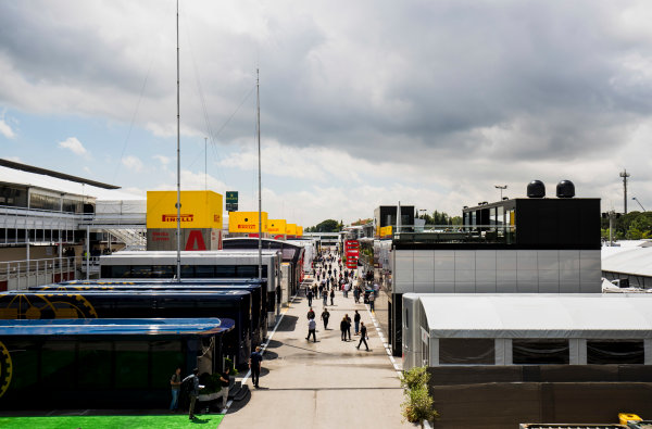 Circuit de Catalunya, Barcelona, Spain. Thursday 11 May 2017. Motorhomes, trucks and hospitality units in a scenic view of the Barcelona paddock. The FIA motorhomes are in the foreground. World Copyright: Zak Mauger/LAT Images ref: Digital Image _56I6659