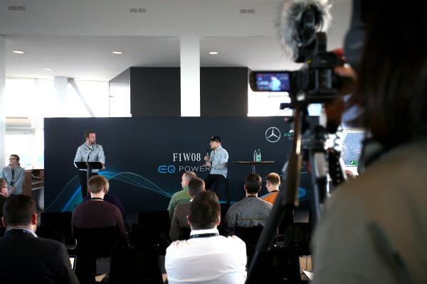 Mercedes F1 W08 Formula 1 Launch. Silverstone, Northampton, UK. Thursday 23 February 2017. Valtteri Bottas, Mercedes AMG, talks to Bradley Lord, Head of Mercedes-Benz Motorsport Communications, in front of assembled media. World Copyright: Hoyer/Ebrey/LAT Images Ref: MDH19105