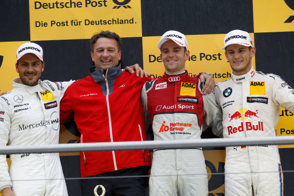 2017 DTM Round 1 Hockenheim, Germany. Sunday 7 May 2017. Podium: Race winner Jamie Green, Audi Sport Team Rosberg, Audi RS 5 DTM, second place Gary Paffett Mercedes-AMG Team HWA, Mercedes-AMG C63 DTM, third Marco Wittmann, BMW Team RMG, BMW M4 DTM World Copyright: Alexander Trienitz/LAT Images ref: Digital Image 2017-DTM-R1-HH-AT1-3748