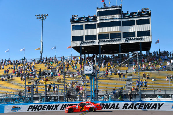 2017 NASCAR Xfinity Series DC Solar 200 Phoenix International Raceway, Avondale, AZ USA Saturday 18 March 2017 Justin Allgaier takes the checkered flag and the win World Copyright: Nigel Kinrade/LAT Images ref: Digital Image 17PHX1nk06434