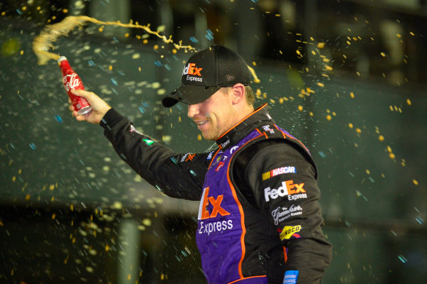 12-13 February, 2016, Daytona Beach, Florida, USA Denny Hamlin, FedEx Express Toyota Camry, celebrates in victory lane after winning the Sprint Unlimited. ?2016, Logan Whitton LAT Photo USA