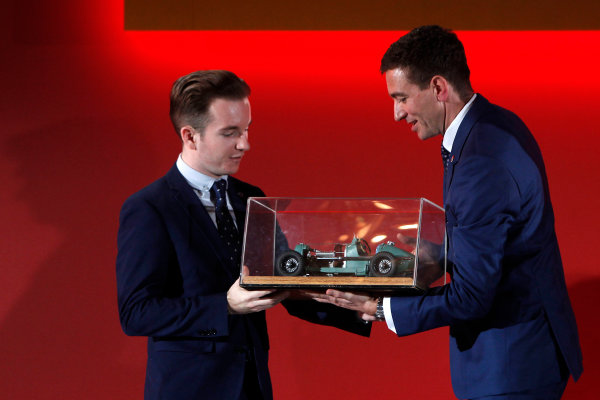 2015 British Racing Drivers Club Awards Grand Connaught Rooms, London Monday 7th December 2015 Charlie Robertson on stage with Oliver Gavin. World Copyright: Jakob Ebrey/LAT Photographic ref: Digital Image RobertsonGavin-02