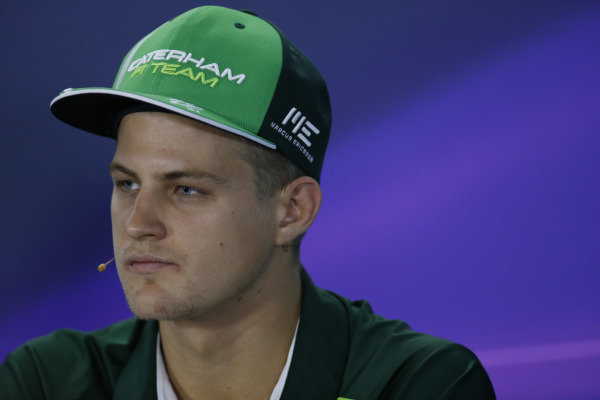 Marina Bay Circuit, Singapore. Thursday 18 September 2014. Marcus Ericsson, Caterham F1, in the Drivers Press Conference. World Copyright: Alastair Staley/LAT Photographic. ref: Digital Image _79P6406