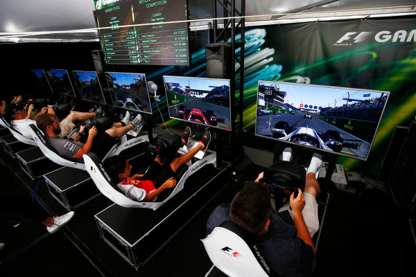 Circuit Gilles Villeneuve, Montreal, Canada. Sunday 11 June 2017. F1 challenge in the Gamezone. World Copyright: Andy Hone/LAT Images ref: Digital Image _ONZ4800