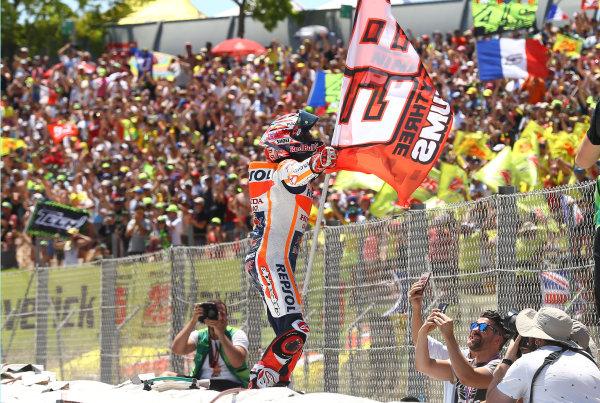 2017 MotoGP Championship - Round 7 Circuit de Catalunya, Barcelona, Spain Sunday 11 June 2017 Marc Marquez, Repsol Honda Team celebrate World Copyright: Gold & Goose Photography/LAT Images ref: Digital Image 677073