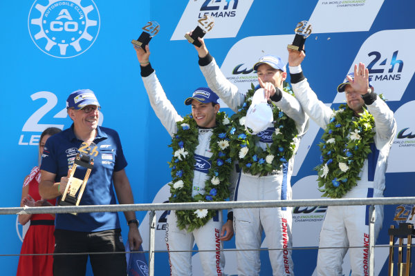 2017 Le Mans 24 Hours Circuit de la Sarthe, Le Mans, France. Sunday 18th  June 2017 #67 Ford Chip Ganassi Team UK  Ford GT: Andy Priaulx, Harry Tincknell, Pipo Derani  World Copyright: JEP/LAT Images