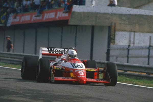 1987 Portuguese Grand Prix.  Estoril, Portugal. 18-20 September 1987.  Martin Brundle, Zakspeed 871.  Ref: 87POR31. World Copyright: LAT Photographic