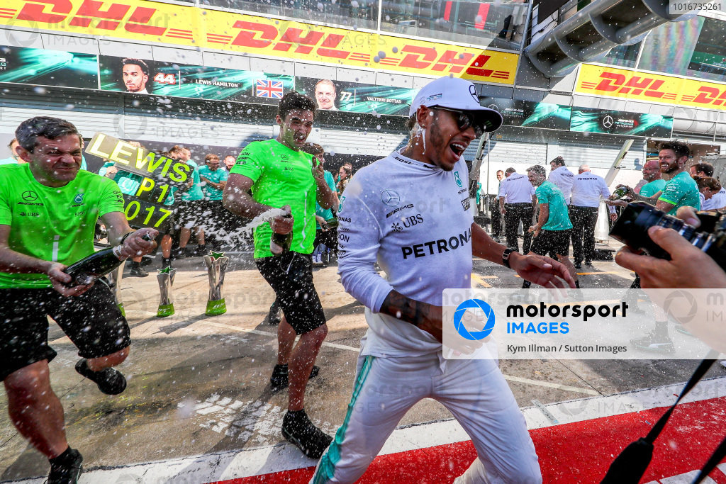 Race winner Lewis Hamilton (GBR) Mercedes AMG F1 celebrates with theteam and the champagne at Formula One World Championship, Rd13, Italian Grand Prix, Race, Monza, Italy, Sunday 3 September 2017. BEST IMAGE