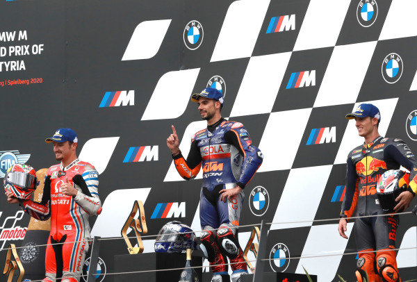 Race winner Miguel Oliveira, Red Bull KTM Tech 3, second place Jack Miller, Pramac Racing, third place Pol Espargaro, Red Bull KTM Factory Racing.
