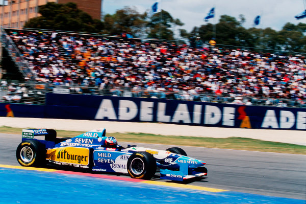 1995 Australian Grand Prix. Adelaide, Australia. 10-12 November 1995. Michael Schumacher (Benetton B195 Renault) exited the race after a collision with Alesi. Ref-95 AUS 23. World Copyright - LAT Photographic