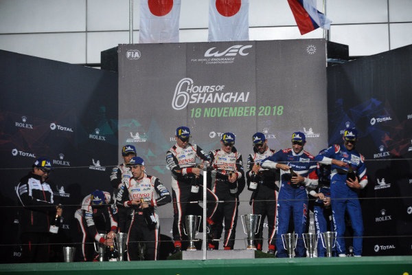 P1 Podium, #8 Toyota Gazoo Racing Toyota TS050: Sebastien Buemi, Kazuki Nakajima, Fernando Alonso, #7 Toyota Gazoo Racing Toyota TS050: Mike Conway, Kamui Kobayashi, Jose Maria Lopez and #11 SMP Racing BR Engineering BR1: Mikhail Aleshin, Vitaly Petrov, Jenson Button