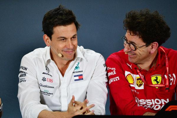 Toto Wolff, Executive Director (Business), Mercedes AMG, and Mattia Binotto, Team Principal Ferrari