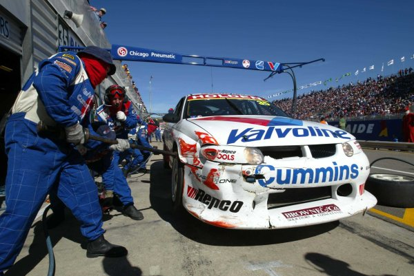 2002 Australian V8 SupercarsAdelaide Clipsal 500. Australia. 17th March 2002.Valvoline's Jason Bargwanna comes into the pits after a coming together with Ford's Glenn Seton.World Copyright: Mark Horsburgh/LAT Photographicref: Digital Image Only