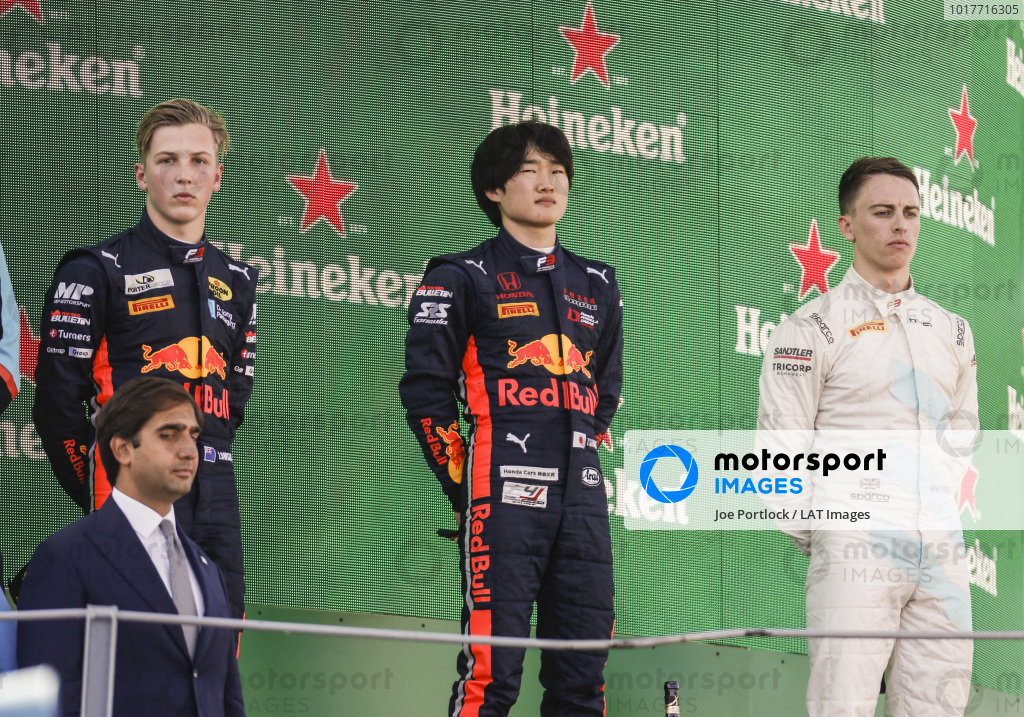 AUTODROMO NAZIONALE MONZA, ITALY - SEPTEMBER 08: Yuki Tsunoda (JPN) Jenzer Motorsport, Jake Hughes (GBR) HWA RACELAB and Liam Lawson (NZL) MP Motorsport on the podium during the Monza at Autodromo Nazionale Monza on September 08, 2019 in Autodromo Nazionale Monza, Italy. (Photo by Joe Portlock / LAT Images / FIA F3 Championship)