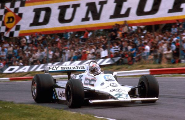 1980 British Grand Prix.Brands Hatch, England.11-13 July 1980.Alan Jones (Williams FW07B Ford) 1st position at Druids.Ref-80 GB 03.World Copyright - LAT Photographic