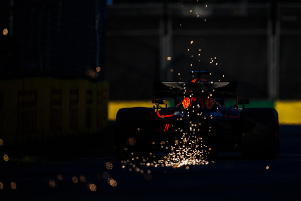 Sparks kick up from Max Verstappen, Red Bull Racing RB15