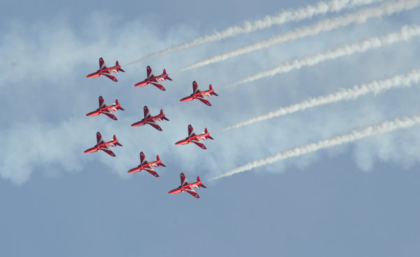 Goodwood Estate, Chichester England 11th - 14th July 2013. The Red Arrows. World Copyright: Jeff Bloxham/LAT Photographic ref: Digital Image DSC_7491