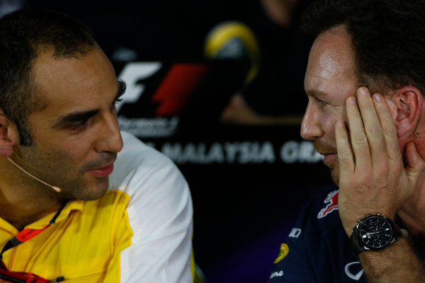 Sepang International Circuit, Sepang, Kuala Lumpur, Malaysia. Friday 27 March 2015. Cyril Abiteboul, Head Engineer, Renault Sport F1, and Christian Horner, Team Principal, Red Bull Racing, in the team principals Press Conference. World Copyright: Andrew Hone/LAT Photographic. ref: Digital Image _ONY9100