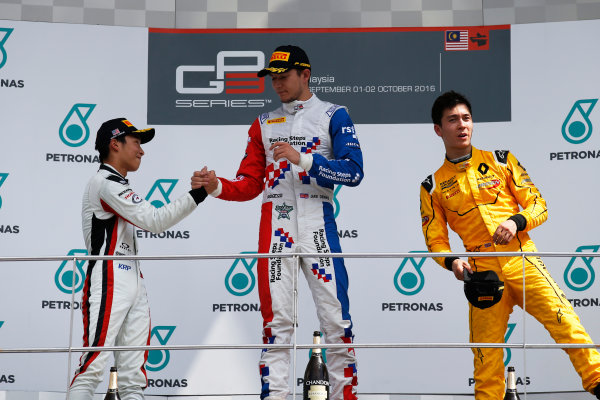 Jake Dennis (GBR, Arden International) Nirei Fukuzumi (JPN, ART Grand Prix) and Jack Aitken (GBR, Arden International)  2016 GP3 Series Round 8 Sepang International Circuit, Sepang, Malaysia. Sunday 2 October 2016  Photo: /GP3 Series Media Service ref: Digital Image _SLA4802
