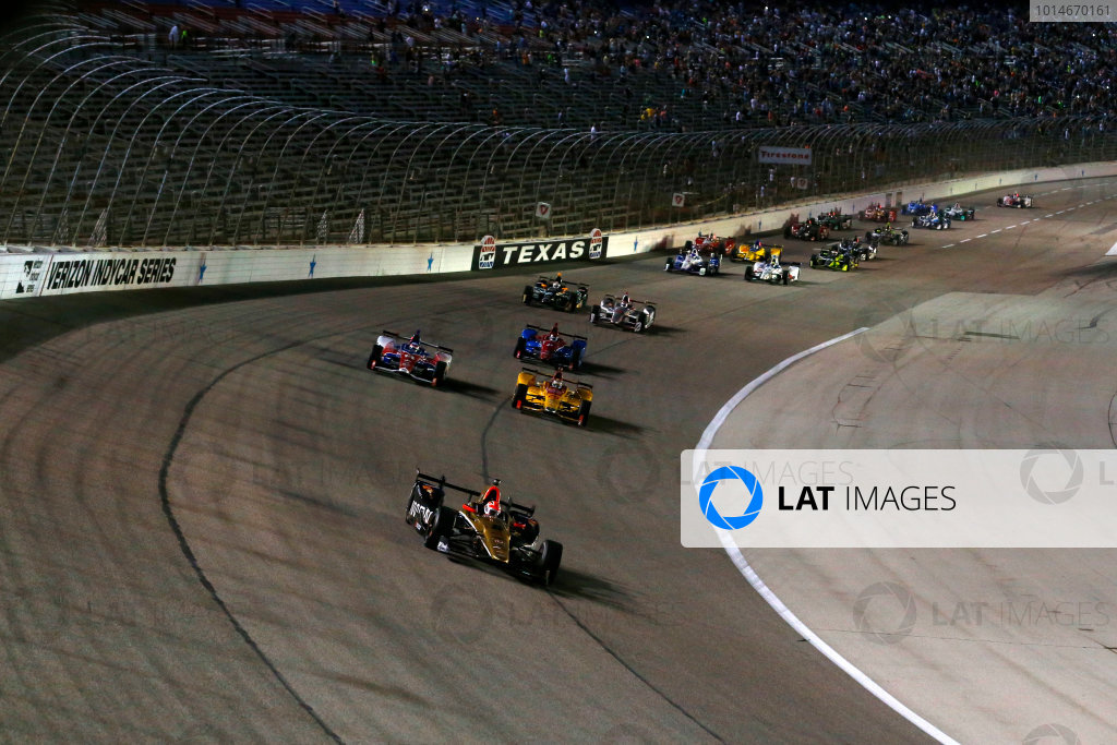 10-11 June, 2016, Fort Worth, Texas USA James Hinchcliffe leads on the restart ?2016, Phillip Abbott LAT Photo USA