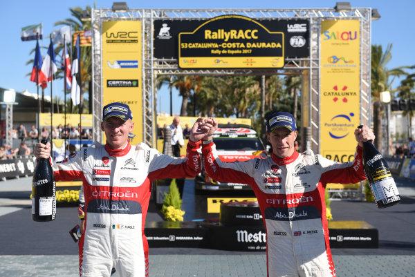2017 FIA World Rally Championship, Round 11, Rally RACC Catalunya / Rally de Espa?a, 5-8 October, 2017, Kris Meeke and Paul Nagle, Citroen, Podium, Worldwide Copyright: LAT/McKlein