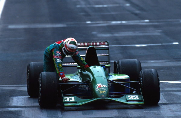 Andrea de Cesaris pushed his Jordan into 4th place and was   initially excluded from the race but later the decision was reversed. Mexican Grand Prix, Mexico City, 16 June 1991