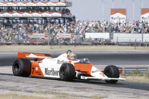 1981 Spanish Grand Prix.Jarama, Spain. 19-21 June 1981.John Watson (McLaren MP4/1-Ford Cosworth), 3rd position.World Copyright: LAT PhotographicRef: 35mm transparency 81ESP30