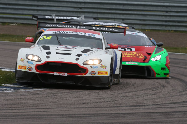 2017 British GT Championship Rockingham, England. 29th-30th April 2017, Jack Mitchell / James Littlejohn Macmillan AMR Aston Martin Vantage GT3  World copyright. JEP/LAT Images