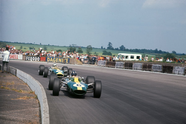 Silverstone, England. 13th-15th July 1967.  Graham Hill leads Jim Clark (both Lotus 49-Ford).  Ref: 67GB01. World Copyright: LAT Photographic