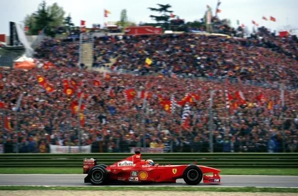 Winner Michael Schumacher(GER) Ferrari F1 2000 in front of the Italian Tifosi San Marino GP, Imola, 9th April 2000