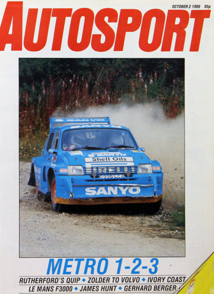 Cover of Autosport magazine, 2nd October 1986