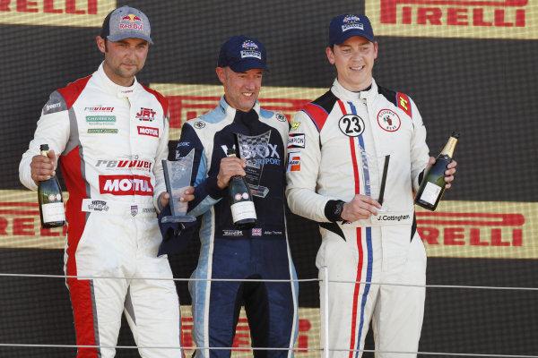 Julian Thomas, Shelby Daytona Coupe, celebrates on the podium, alongside Andrew Jordan, AC Cobra Daytona Coupe and James Cottingham, Shelby Cobra