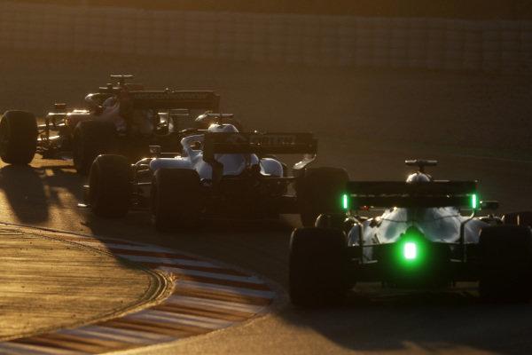 Alex Albon, Scuderia Toro Rosso STR14, George Russell, Williams FW42 and Sebastian Vettel, Ferrari SF90