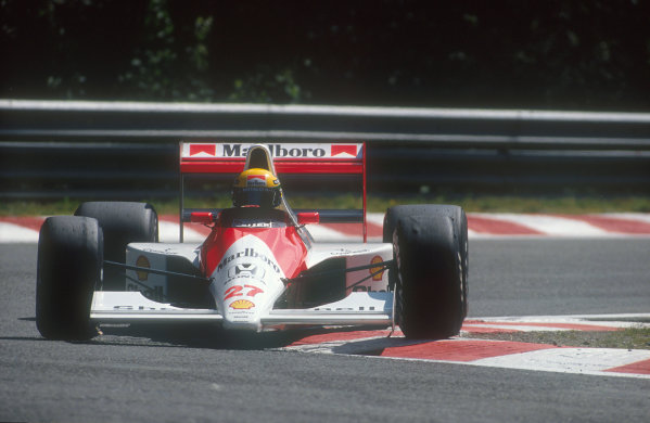 1990 Belgian Grand Prix.Spa-Francorchamps, Belgium.24-26 August 1990.Ayrton Senna (McLaren Honda) 1st position.Ref-90 BEL 05.World Copyright - LAT Photographic