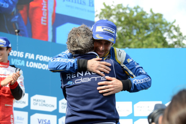 Nicolas Prost (FRA) Team e.dams Renault and Alain Prost (FRA) celebrate on the podium at Formula E, Rds10&11, Battersea Park, London, England, 2-3 July 2016.