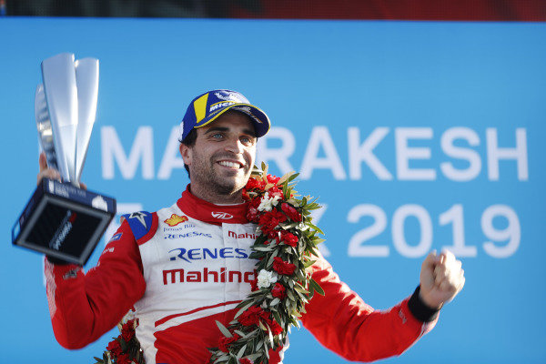Jérôme d'Ambrosio (BEL), Mahindra Racing, celebrates on the podium after winning the race
