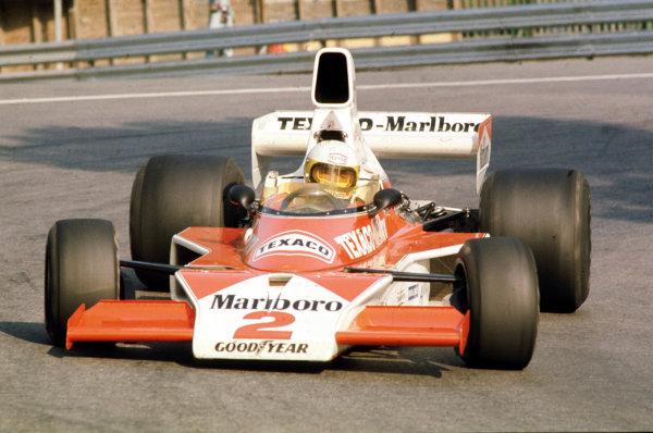 1975 Spanish Grand Prix.Montjuich Park, Barcelona, Spain.25-27 August 1975.Jochen Mass (McLaren M23 Ford) 1st position.World Copyright - LAT Photographic