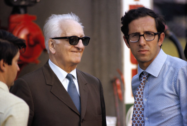 Enzo Ferrari with engineer Mauro Forghieri.