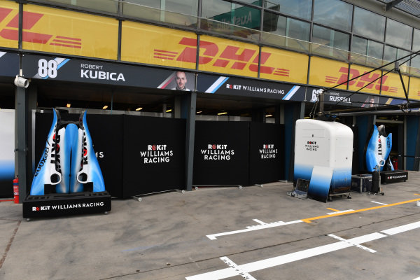 Bodywork outside of the Robert Kubica, Williams Racing, and George Russell garages.