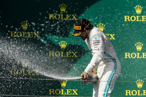 Lewis Hamilton, Mercedes AMG F1, 1st position, sprays Champagne