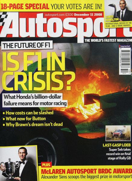 Cover of Autosport magazine, 11th December 2008