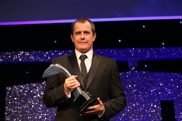 2016 Autosport Awards.  Grosvenor House Hotel, Park Lane, London. Sunday 4 December 2016.  Volkswagen WRC technical chief Francois Demaison receives the Rally Car of the Year award for the VW Polo. World Copyright: Jed Leicester/LAT Images. ref: Digital Image JL1_9304