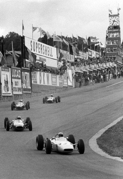 1964 Belgian Grand Prix.Spa-Francorchamps, Belgium. 14 June 1964.Innes Ireland, BRP 1-BRM, 10th position, leads Jo Siffert, Brabham BT11-BRM, retired, action.World Copyright: LAT Photographic