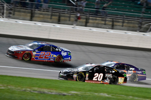 #20: Erik Jones, Joe Gibbs Racing, Toyota Camry Reser's, #22: Joey Logano, Team Penske, Ford Fusion AAA Insurance and #11: Denny Hamlin, Joe Gibbs Racing, Toyota Camry FedEx Freight