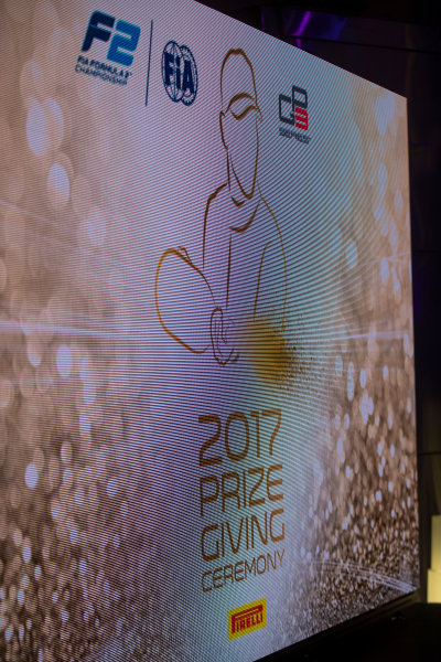 2017 Awards Evening. Yas Marina Circuit, Abu Dhabi, United Arab Emirates. Sunday 26 November 2017.  Photo: Sam Bloxham/FIA Formula 2/GP3 Series. ref: Digital Image _J6I2782