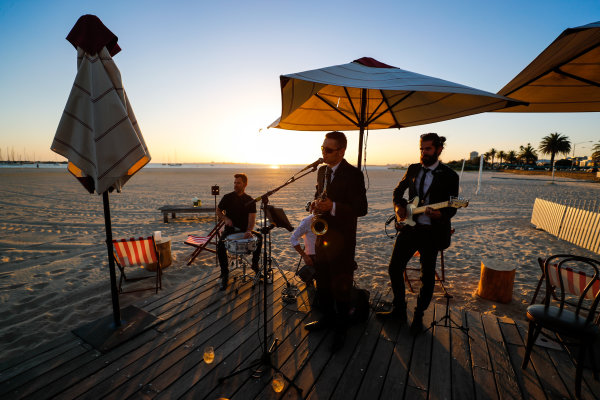 A band playing on the beach in Melbourne, Australia