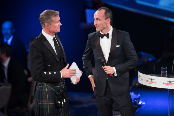 2017 Autosport Awards Grosvenor House Hotel, Park Lane, London. Sunday 3 December 2017. Robert Kubica with Presenter David Coulthard. World Copyright: Joe Portlock/LAT Images  ref: Digital Image _R3I6106