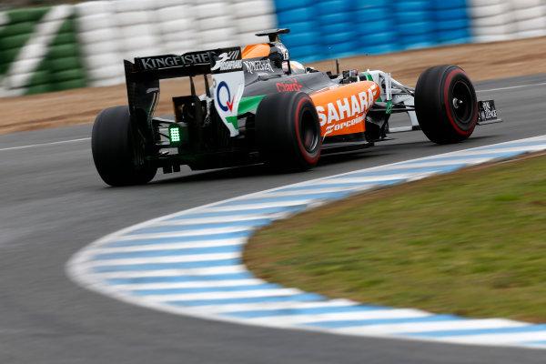 2014 F1 Pre Season Test 1 - Day 4 Circuito de Jerez, Jerez, Spain. Friday 31 January 2014. Daniel Juncadella, Force India VJM07 Mercedes. World Copyright: Andrew Ferraro/LAT Photographic. ref: Digital Image _79P7796.JPG
